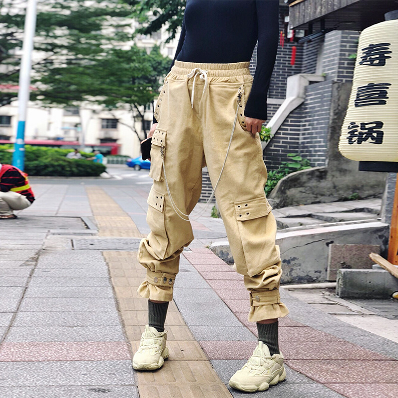 Múltiples caqui Mujeres Casual Bolsillo Harajuku De Streetwear Suelto Safari Cintura Estilo Negro Alta Pana Pantalones Mujer xZvawq4