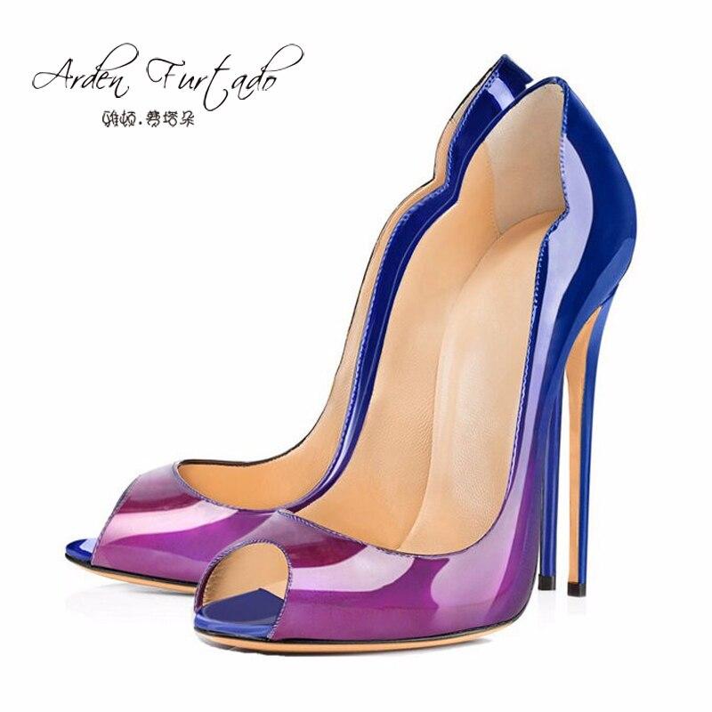 Ayakk.'ten Kadın Pompaları'de 2018 yaz kraliyet mavi sandalet artı boyutu 13 14 özelleştirmek herhangi bir renk elbise ayakkabı kadın 12 cm peep toe deri Leopar slip 'da  Grup 1