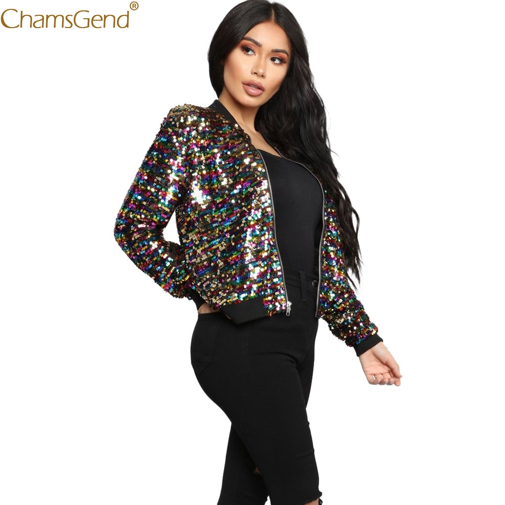 Women Multicolor Coat Womens Sequin Long Sleeve Jacket Tops Casual Blouse Coat Casual Fashion Sequined Clothing Dec12