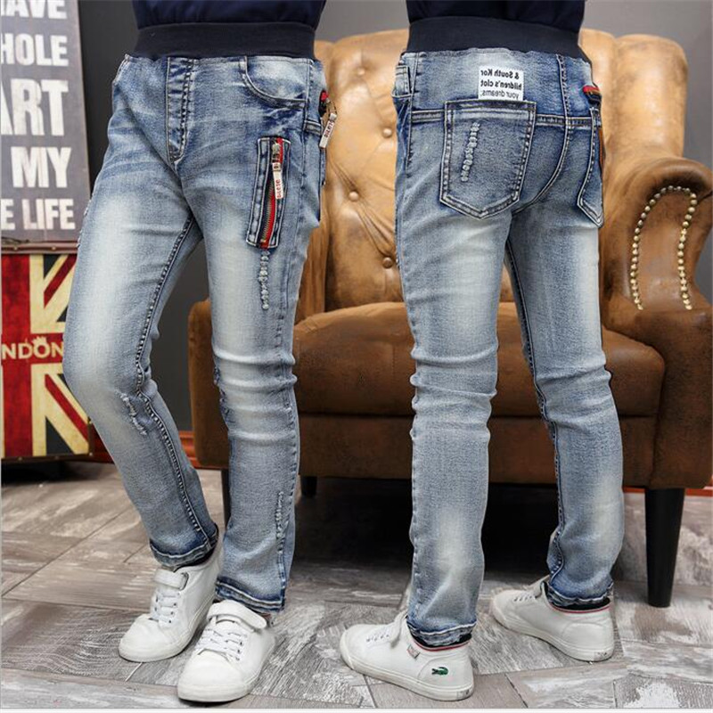 Spring 2016 new children's clothing boys jeans big virgin casual kids pants Long pants fashion Spell color zipper Feet trousers