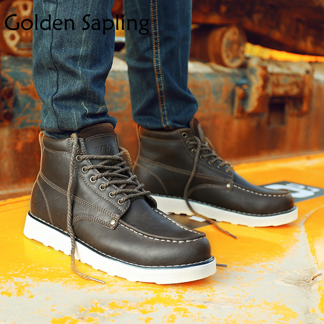 Golden Sapling Men's Tactical Boots Trekking Man Sneakers Mens Hiking Shoes Breathable Leather High Top Outdoor Boot Men Shoes