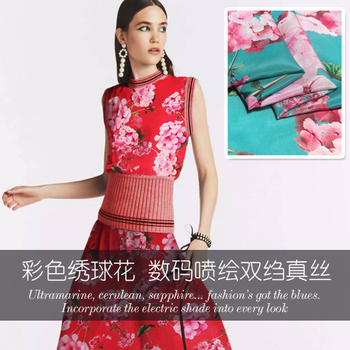 Digital inkjet silk crepe de chine fabric soft breathable shirt dress chinese silk fabric wholesale silk cloth