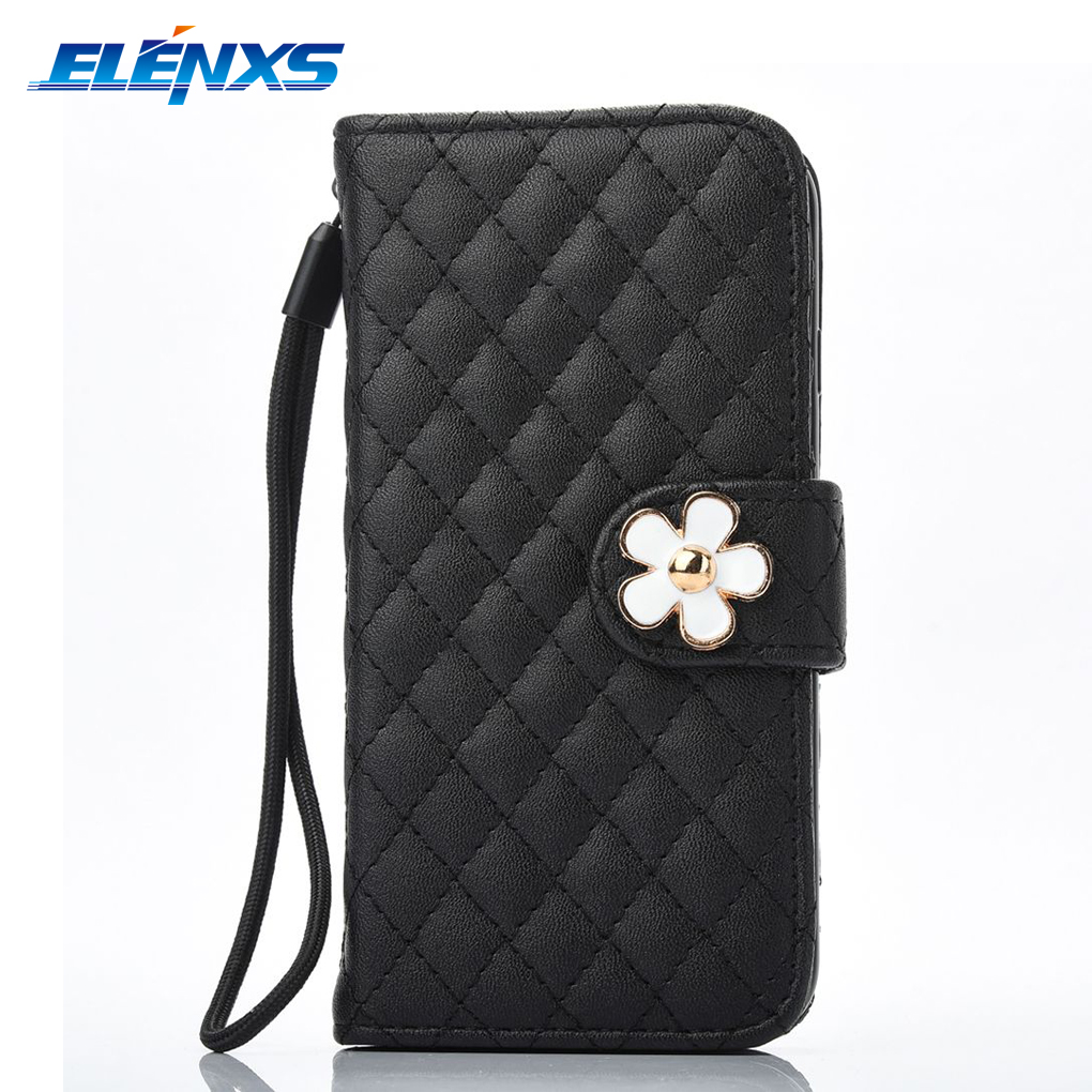 ELENXS Drip Flower Hand Chain Flip PU Leather Wallet Phone Cases Covers For iPhone 7