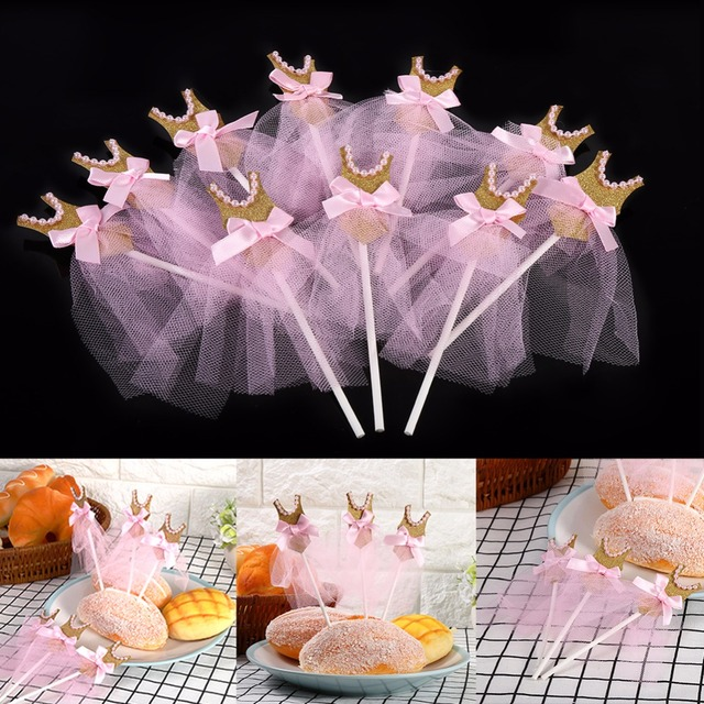10Pcs Pink Gold Glitter Dress Birthday Cupcake Toppers Wedding Baby Shower Princess Party Decorations Bow Topper