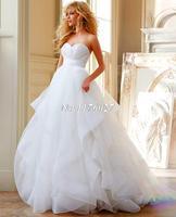 Vestido De Novia Hot Sale A Line Organza Wedding Dresses With Ruffles Ruched Sweetheart Wedding Bridal