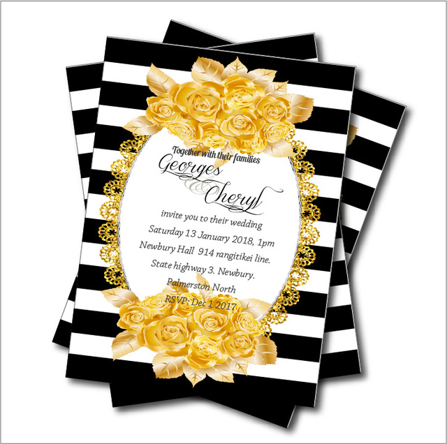 20pcs black white stripe gold rose wedding invitation bridal shower