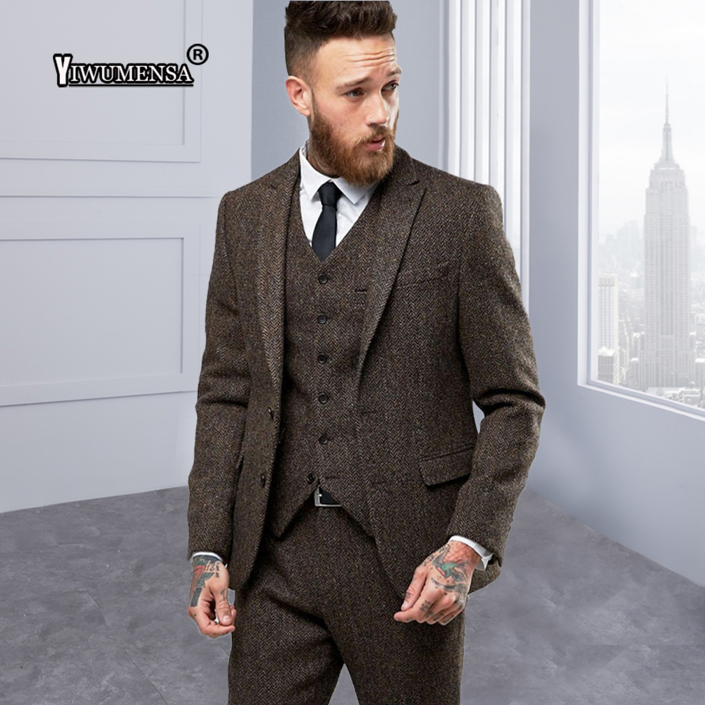 Hommes Made Chevrons Masculino As Yiwumensa Nouvelle Terno Arrivée Hombre Brun Mariage Custom The Pour De Slim Traje Model Costume Tweed Fit Costumes À m0PyOvNw8n