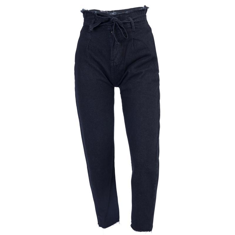 High waist Jeans Women Loose Bow Bandage Hole Denim Stretch mom Pants Jean Hight Waisted