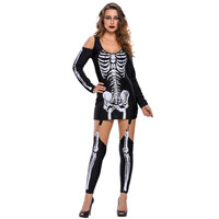 Europe And The United States Fashion Halloween Make Up Dance Skeleton Printed Sexy Strapless Dark Performance