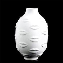 Леди лицо голова кашпо ваза лицо ваза для цветка человеческое лицо Цветочная ваза горшок для суккулентов украшения для домашнего сада белый керамический ремесло