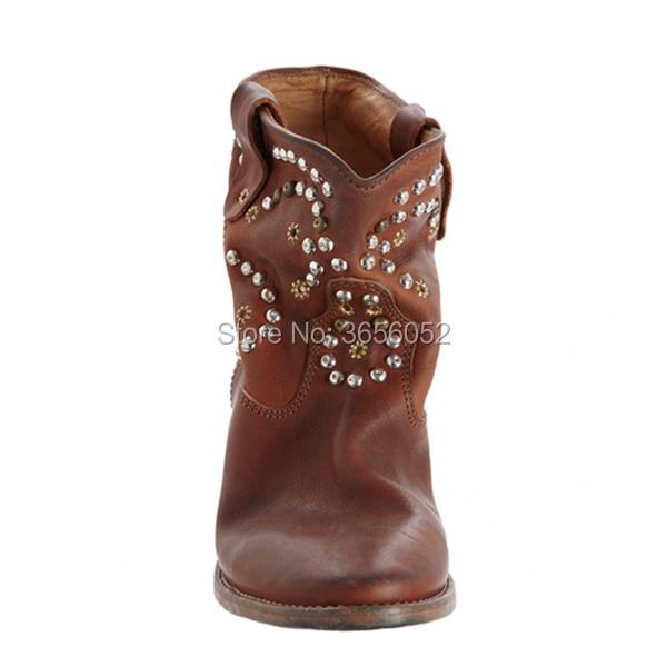 As Bottes Chaussures Goujons Pic Wedge Pic Cuir Croissante Femmes Botas Noir Pointu En as Blanc Qianruiti Celebrity Hauteur Bout Rivet Brun Vintage vawfUCqx