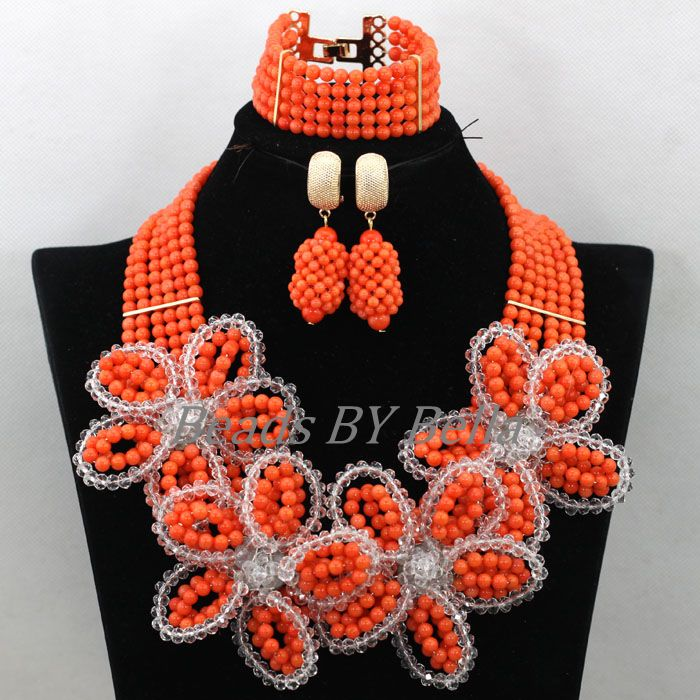 Luxury Flowers African Costume Jewelry Sets Handmade Orange Coral Nigerian Wedding Beads Statement Necklace Free Shipping ABK586Luxury Flowers African Costume Jewelry Sets Handmade Orange Coral Nigerian Wedding Beads Statement Necklace Free Shipping ABK586