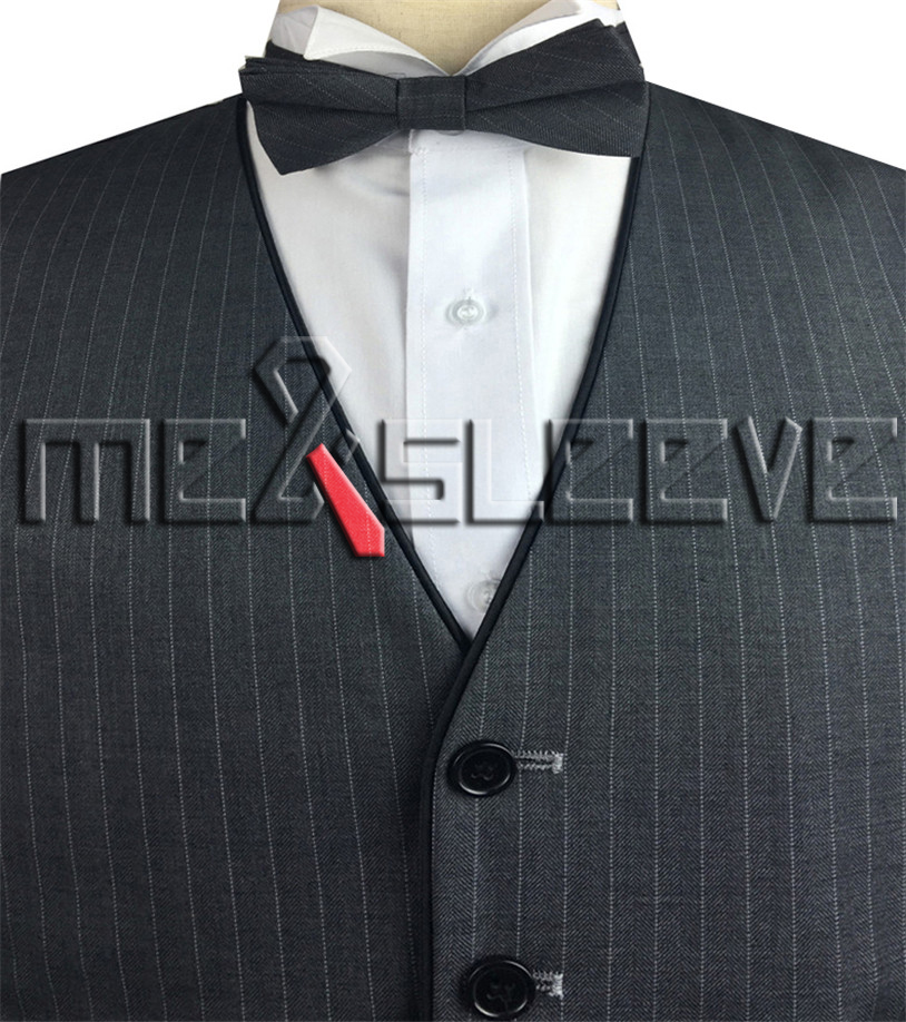 2 Stuks Vest + Bowtie Mannen Mode Formele Kleding Pak Streep Wol Tuxedo Vest Met Zwarte Riem Op De Rand Limpid In Zicht