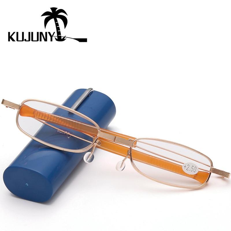 Damenbrillen Neueste Kollektion Von Kujuny Folding Lesebrille Männer Tragbare Stift Fall Hyperopie Brillen Mens Frauen Folding Presbyopie Eyewears Bekleidung Zubehör