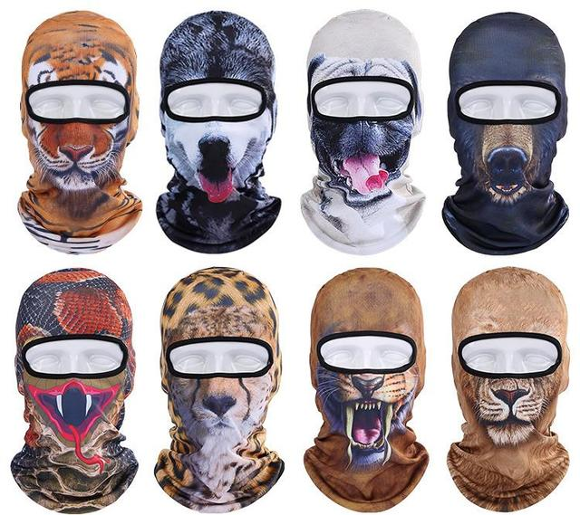 Hot Sale 2017 3D Animal Dog Tiger Outdoor Sports Bicycle Cycling Motorcycle  Masks Hood Hat Veil 9c50f21e4fc8
