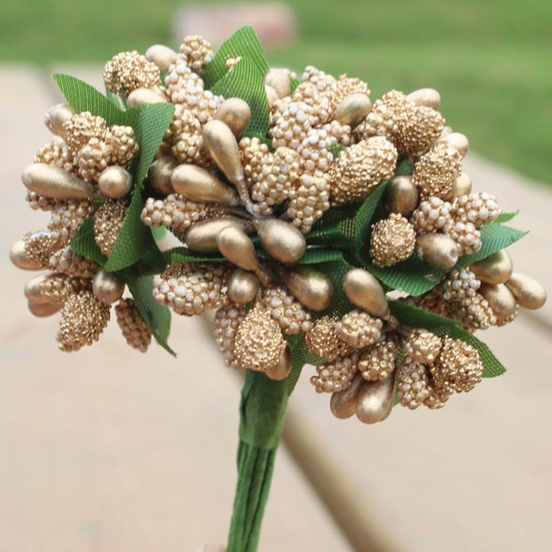 84 unids ramo de la flor artificial mini 2.5 cm estambre de oro del brote de sed