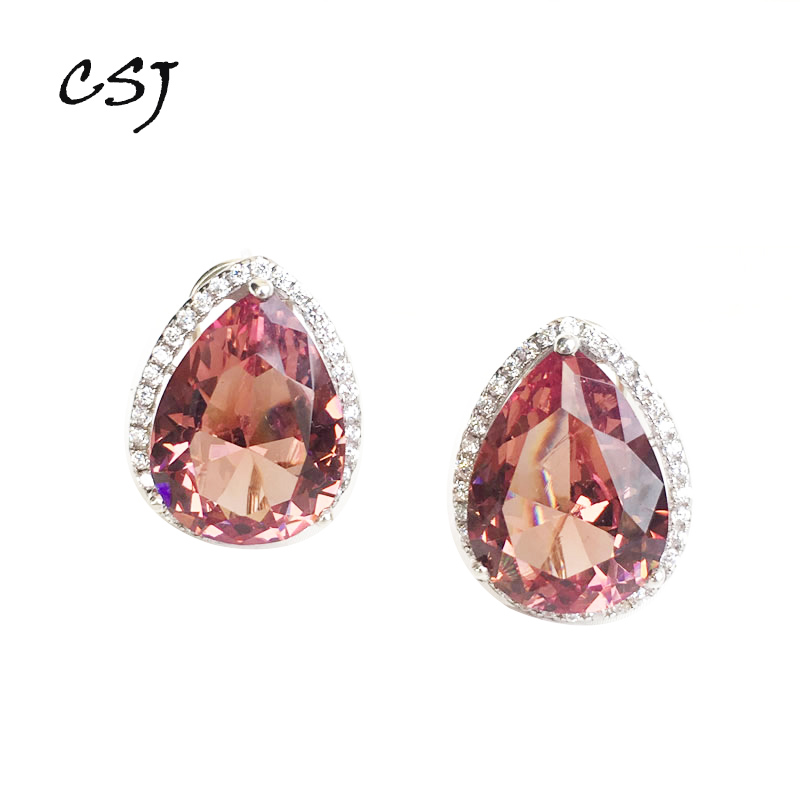 CSJ Big Stone 17CT Zultanite Earring Sterling 925 Silver Pr Cut 12 16MM Created Sultanite Fine