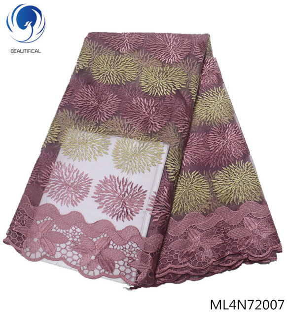 BEAUTIFICAL french lace fabrics Fashion style nigerian tulle lace fabric tow-tone embroidery net lace fabric for dress ML4N720