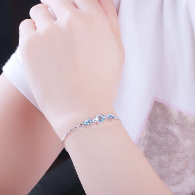 Pierres Topaze Bracelet Bleu