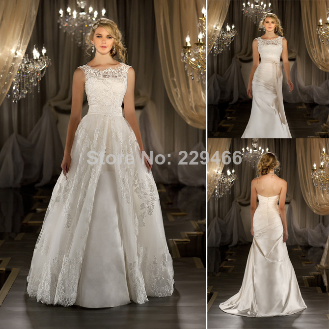 Wedding Dresses With Detachable Tail: New Convertible Wedding Dress 2014 Sexy Elegant Scoop Neck