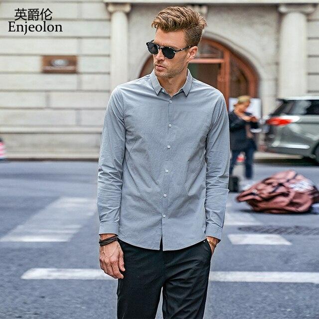 Enjeolon marka sonbahar Camisa Masculina pamuk gömlekler erkekler katı gömlek erkek 3XL bluz uzun kollu gömlek erkekler için CX2517 1