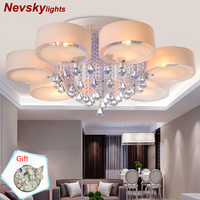 Crystal Ceiling Lights modern fashionable design dining room led lamp pendente de teto de white shade acrylic lustre 110~220V