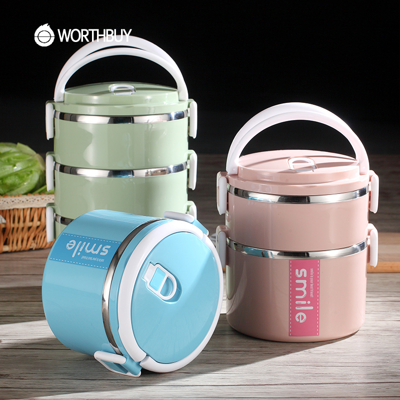 WORTHBUY Japanese Stainless Steel Bento Lunch Boxs With Microwave Interlayer High-Capacity Food Containers For Kids Picnic Set