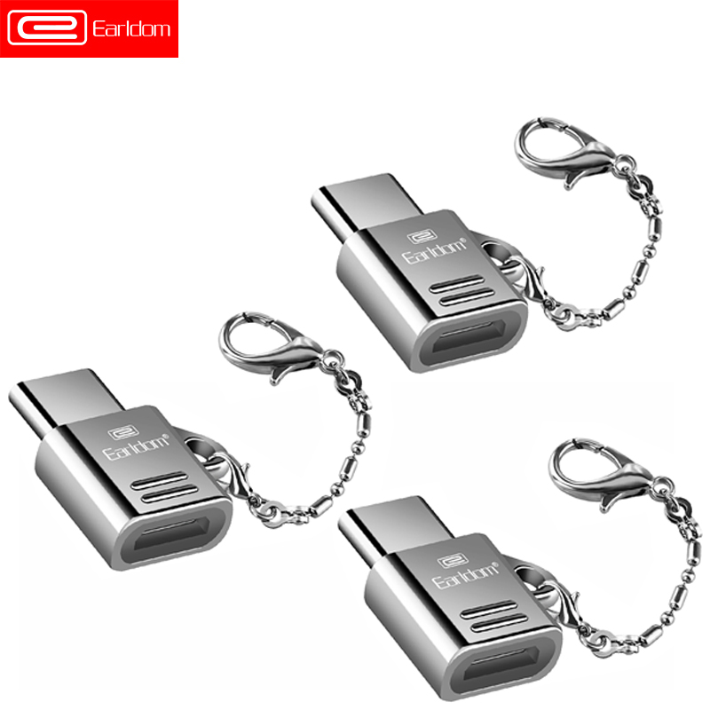 Earldom 3pcs/Lot Metal USB Type C Adapter Micro USB To Type-C OTG Converter For Xiaomi 4C Mi5 Samsung S8 Huawei P9 LG With Chain