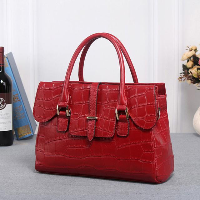 2017 Genuine Leather Messenger Bag Crocodile Pattern Women Brand Shoulder Bags Designer Female OL Leather Handbag bolsa feminina