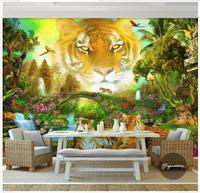 Custom 3d photo wallpaper 3d murals wallpaper wall Cute cartoon forest sky tiger head animal world children 's house painting