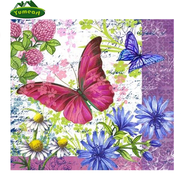 Diamante Pintura Bordado Púrpura Lila Mariposa Dibujos Dmc Cruz