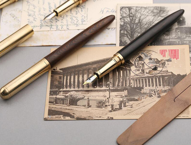 luxurious quality brass Red wood Pear Rosewood golden Iridium classic fountain pen in Fountain Pens from Office School Supplies