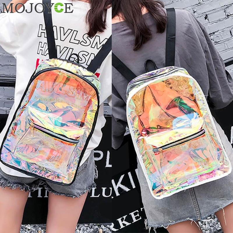 Mojoyce Transparent Holographic Backpacks Korean Style Small Backpack For Girls Shining Hologram Shoulder Bags Mochilas Feminina