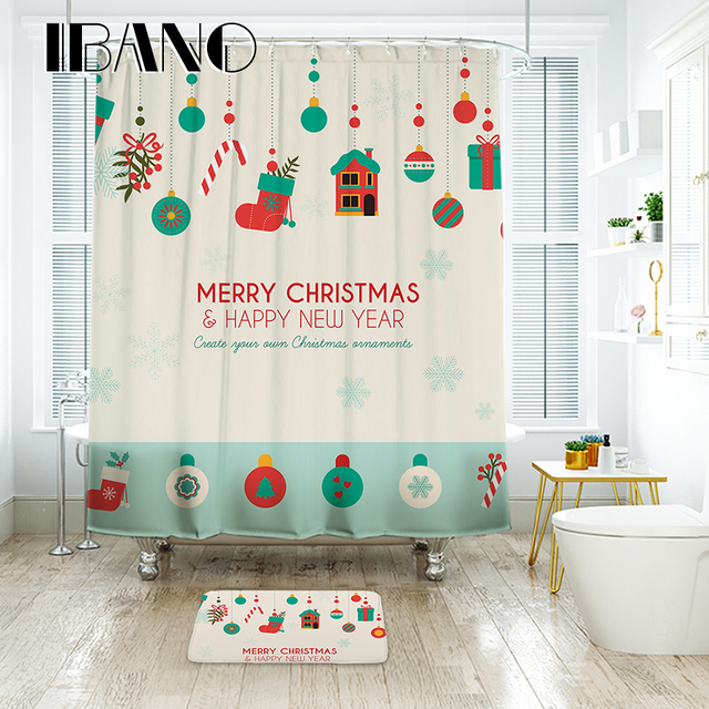 IBANO Merry Christmas Shower Curtain Waterproof Polyester Fabric Bath For The Bathroom With 12 Pcs