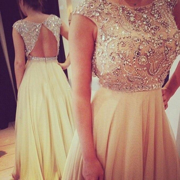 New Elegant Scoop A-line Crystal   Prom     Dresses   Beaded Top Cap Sleeves Hollow Back with Chiffon Skirt Vestidos de Novia ZY059