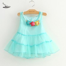 New 2016 Summer Girls Dress Kids Princess dress Baby Girls Cute Sleeveless Girl's Fashion Dress 2-9 years