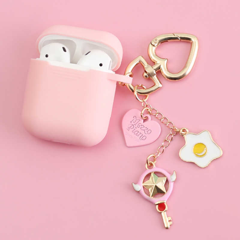 Słodkie urocze silikonowe etui na telefon dla Apple Airpods bezprzewodowy Bluetooth akcesoria do słuchawek 1 2 Case ochronna pokrywa torba Shell brelok