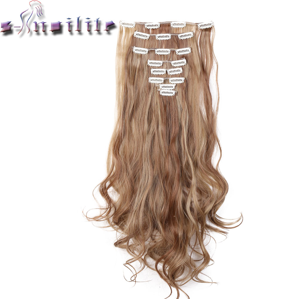 S-noilite 100% REAL THICK  180G 8PCS FULL HEAD Clip In On Hair Extensions 18 Clips Ins Curly Natural Hairpieces Synthetic Fiber