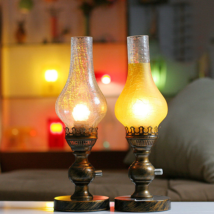 Керосиновая лампа приглушить европейские ретро ностальгические фотографии настольная лампа творческий украшение лампы спальня ночники ZH ...