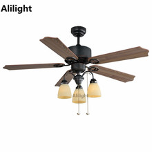 European Style Ceiling Fans With Light LED Vintage Decorative Hanging Lamp  For Hotel Restaurant Living Room
