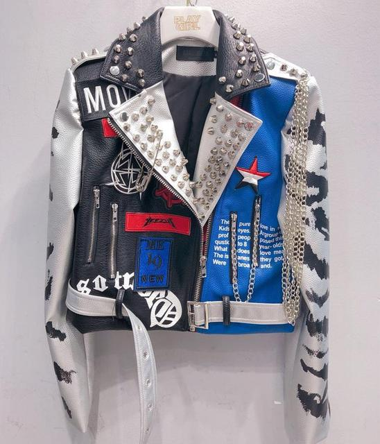 2020 Women rivet beading PU Leather Jacket New Fashion Streetwear Faux Leather Jacket Graffiti Moto Outwear