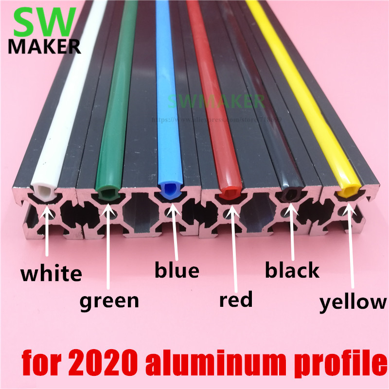 CNC C-Beam Machine DIY Part 20 Series 6mm Flat Seal For 2020 Aluminum Profile Soft Slot Cover/ Panel Red/yellow/black/white/blue