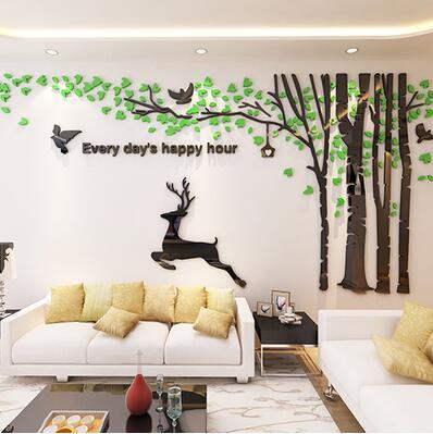 Nouveau grand sticker mural en trois dimensions forêt cerf pour salon canapé enfants chambre mur décor à la maison cristal acrylique 3D autocollants