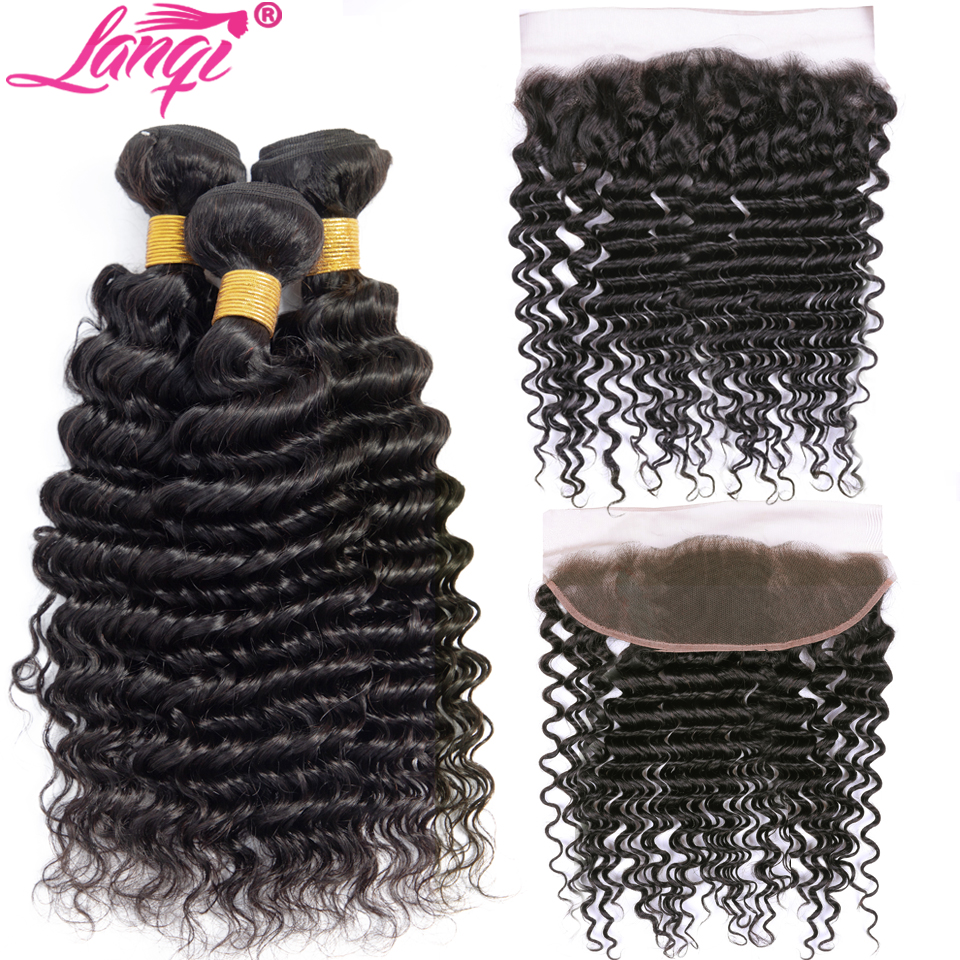 Deep Wave Bundles With Frontal Closure Human Hair Weave Bundles With Frontal Non Remy Brazilian Hair Bundles With Lace Closure