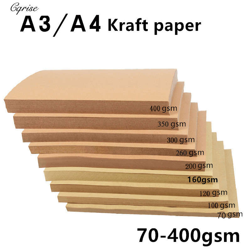 70-400GSM A4/A3 Brown Raw Wood Pulp Kraft Paper DIY Cover Handmade Origami Cardboard Printing Gift Packaging Decor Paper