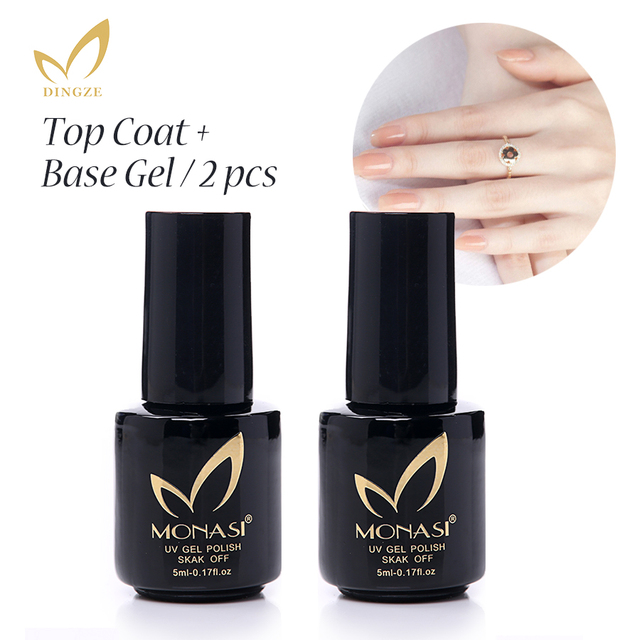 MONASI Top Coat+Base Coat Clear Gel Nail Polish Lacquer Soak Off ...