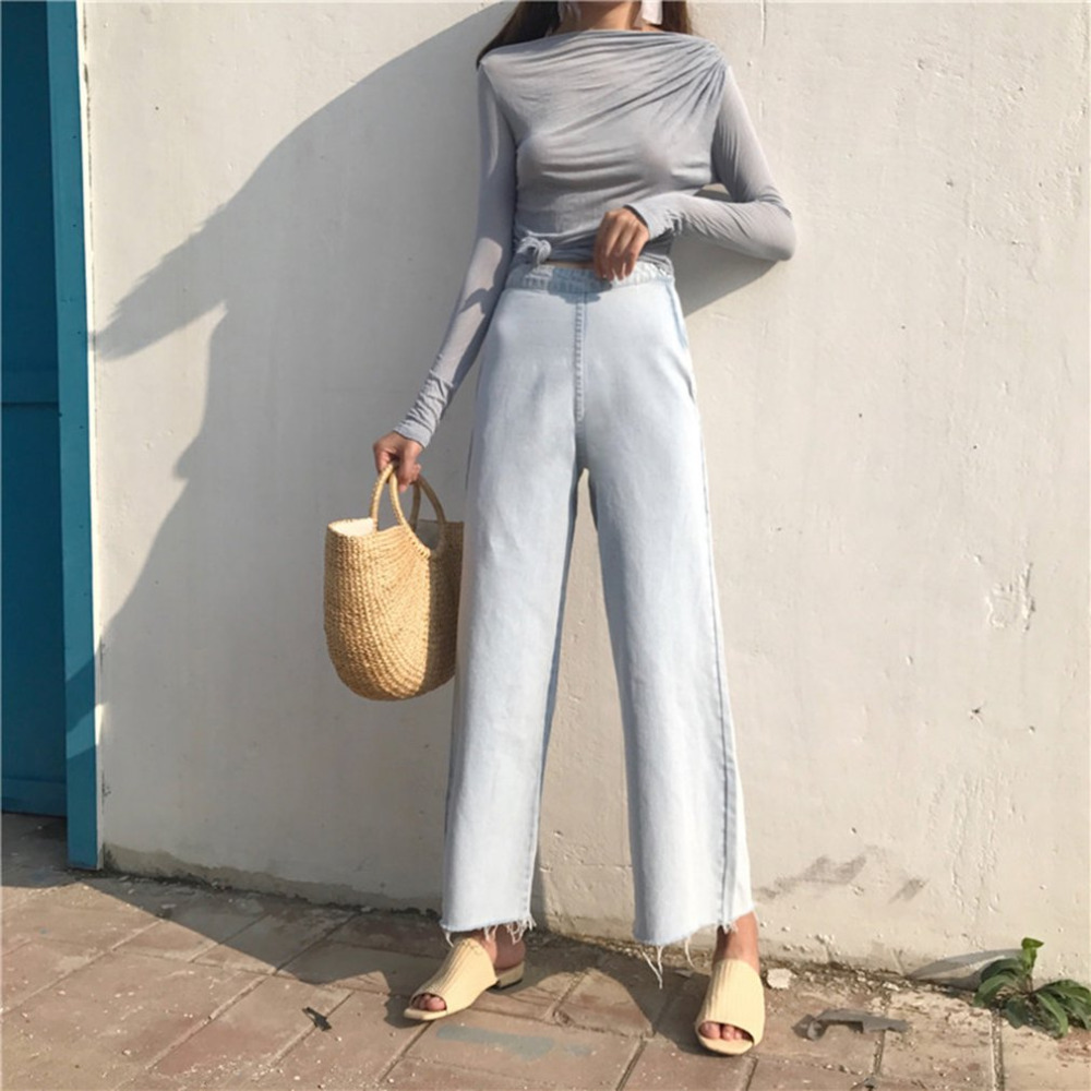 43e935621a375 2019 Women Wide Leg Jeans Korean Vintage Side Zipper High Waist ...