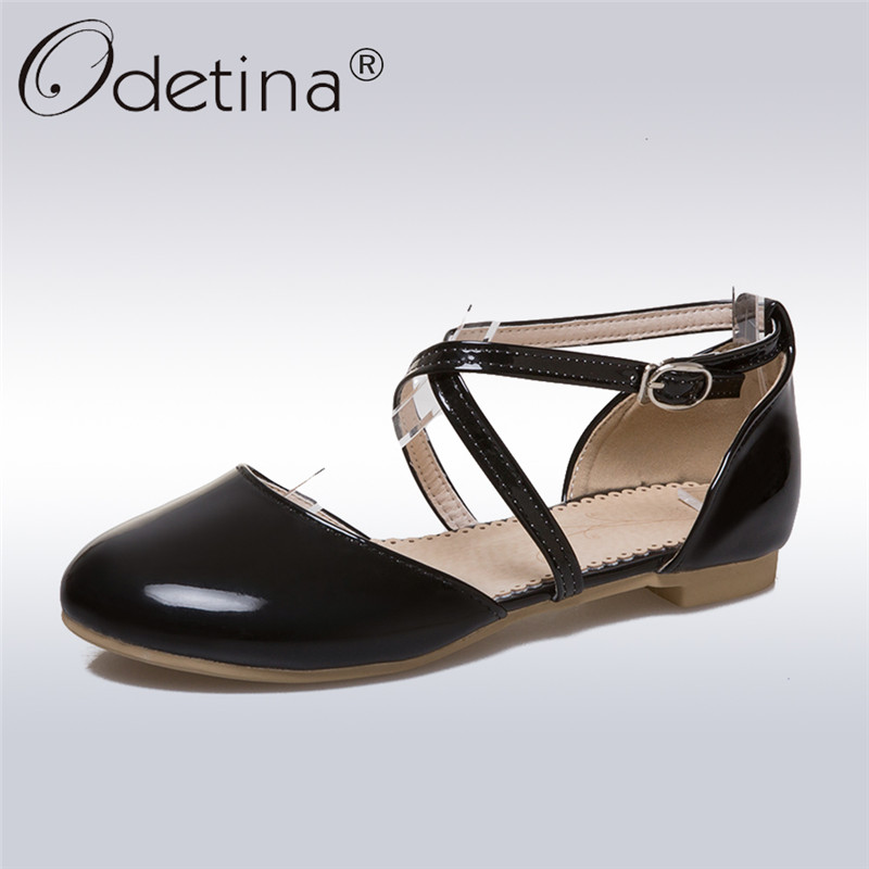 Odetina 2018 New Fashion Women Mary Janes Patent Leather Flats Cross Buckle Ankle Strap Shoes Round Toe Flat Shoes Big Size 45 odetina 2017 new summer women ankle strap ballet flats buckle hollow out flat shoes pointed toe ladies comfortable casual shoes