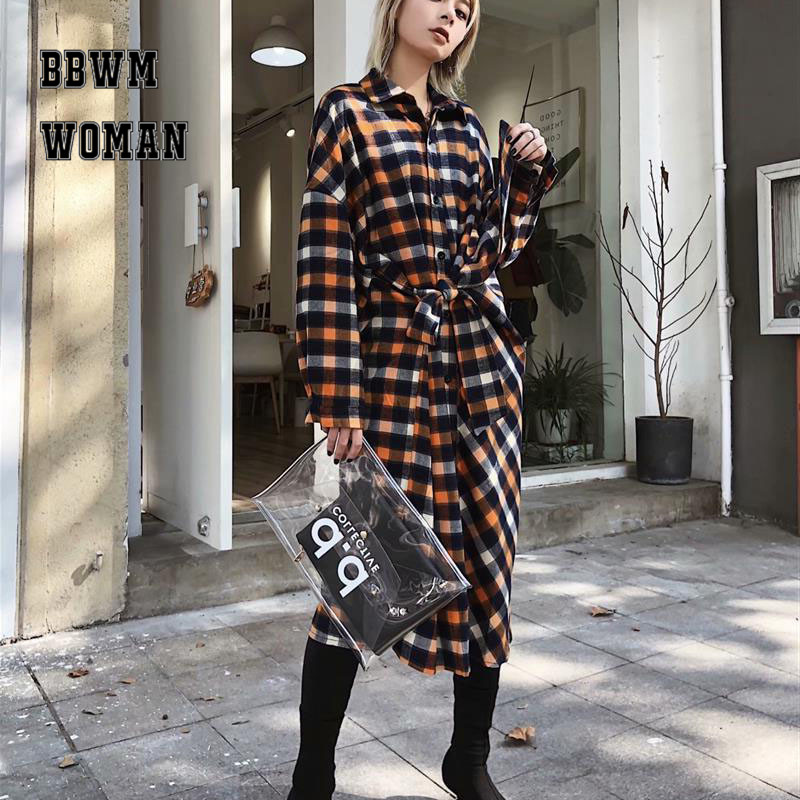 2018 New Design Grid Thick Shirt Style Dress Lapel Autumn Bottoming Long Sleeve Dresses Zo1133 Easy And Simple To Handle