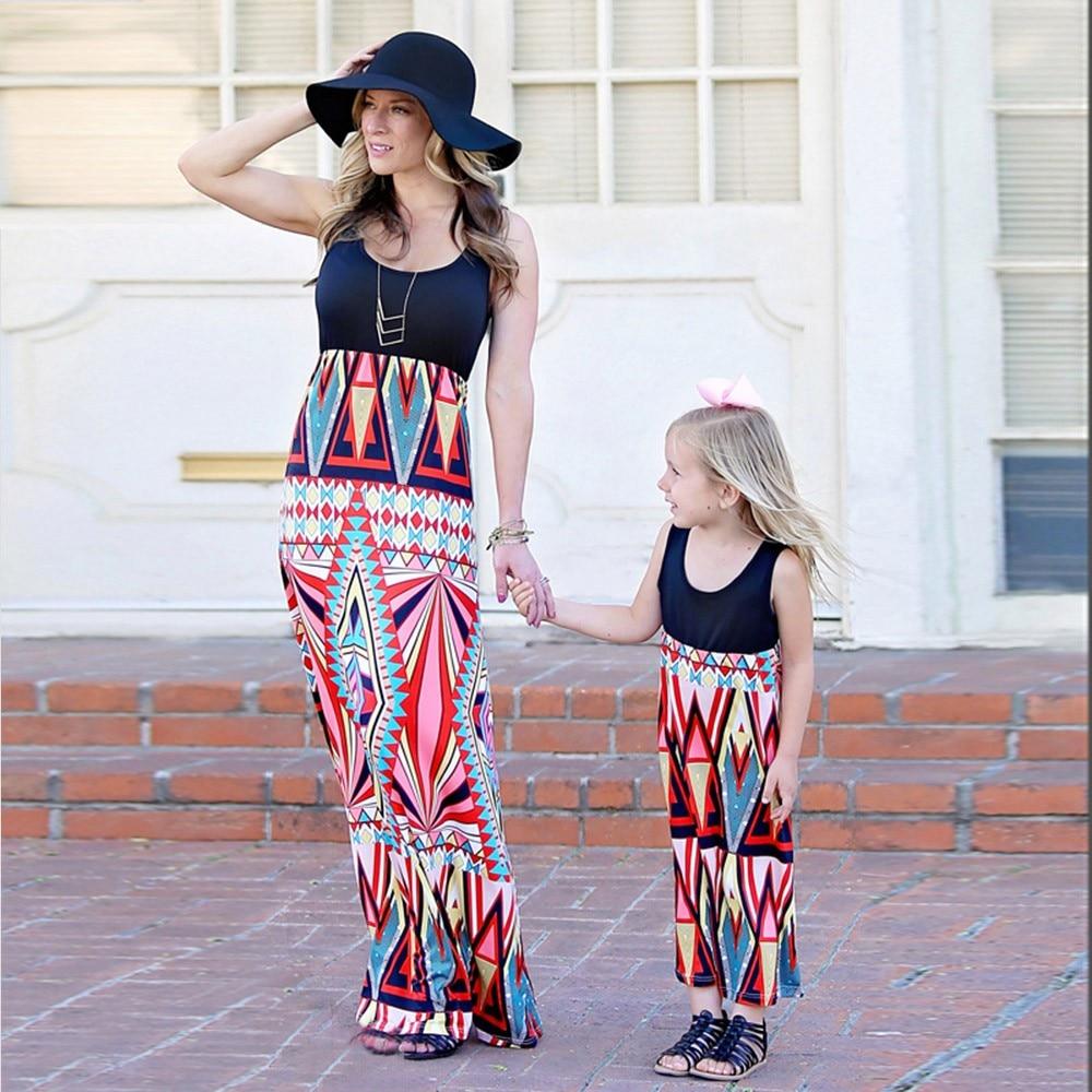 Women Summer Dress Beach Sundress Bohemian Print Vest Sleeveless Family Clothes Ankle-Length Dresses 2019 vestidos verano